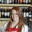 Portrait of a happy young waitress — Stock Photo