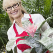 Portrait of a happy senior woman standing behind flower plant in greenhouse - Stock Photo
