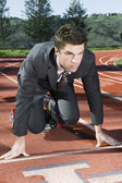 Businessman At Starting Blocks — Stock Photo