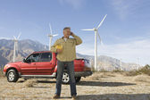 Senior Man Working At Wind Farm — Stock Photo