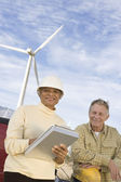 Senior Working At Wind Farm — Stock Photo