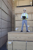 Portrait of a worker standing on stack of plywood — Stock Photo