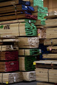 Large quantity of wooden plywood stored in warehouse — Stock Photo