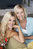 Portrait of mother and daughter at home — Stock Photo