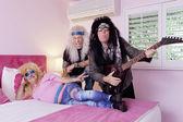Porträtt av tre hippie musiker — Stockfoto