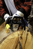 Close-up view of lumberjack with electric saw — Stock Photo
