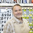 Portrait of happy mature salesperson in hardware store — Stock Photo #21881081