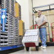 Mature mpushing handtruck in hardware store — Stock Photo #21881161