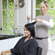 Stock Photo: Cheerful hairstylist giving haircut to beautiful mid adult womin beauty salon
