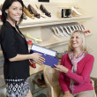 Portrait of a mid adult salesperson giving footwear box to mature female customer in shoe store - Foto de Stock