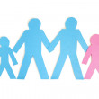 Paper cut outs representing a family of four over white background — Stock Photo #21889979