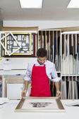 Young skilled worker adjusting frame on photograph — Stock Photo