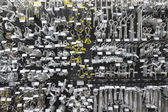 Large group of metallic equipments on display in hardware store — Stock Photo
