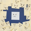 Sticky notes with anthropomorphic face blaming colleague — Foto de Stock