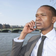 African American businessman on a call — Stock Photo