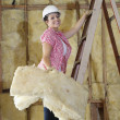 Portrait of a happy female construction worker carrying sponge while climbing ladder — Stock Photo