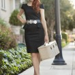 Stock Photo: Full length of elegant womin dress walking with vanity case