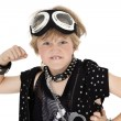 Stock Photo: Portrait of punk kid showing fist over white background