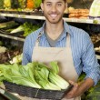 Portrait of a happy young salesperson with bok choy in market - Stock Photo