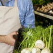 Midsection of man holding basket of green onion in supermarket — Stock Photo