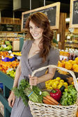 Portrait of beautiful brunette with basket shopping in market — Stock Photo