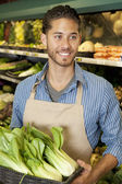 Happy young sales clerk holding bok choy in supermarket — Stock Photo