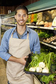 Portrait of a happy man with basket full of green onion in supermarket — Stock Photo