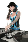 Happy tattooed DJ over white background — Stock Photo
