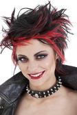 Portrait of beautiful young punk woman with spiked hair — Stock Photo