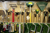 Gardening tools on display in store — Stock Photo