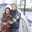 Couple Standing In Front Of Camp Tent — Stock Photo