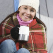Woman In Winter Wear Holding Coffee Cup — Stock Photo