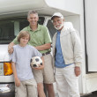 Father, Son And Grandson Stand By RV Home — Stock Photo
