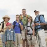 Happy Family With Backpacks — Stock Photo #21900541