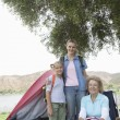 Kid With Mother And Grandmother On Camping Trip — Stock Photo
