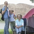 Stock Photo: Kid With Mother And Grandmother On Camping Trip