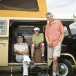 Father, Son And Grandson In Campervan Prepare To Go Fishing — Stock Photo