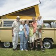 Three Generational Family With Campervan — Stock Photo