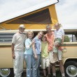 Three Generational Family With Campervan - Stock Photo