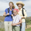 Stock Photo: Mother, Daughter And Granddaughter Hiking