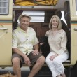 Senior Couple Sit In Campervan With Their Pet Dog — Stock Photo