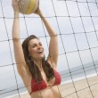 Woman Playing Volley Ball At Beach — Stock Photo