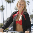 Woman In Bikini With Bike — Stock Photo
