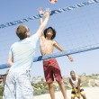 Men Playing Volleyball At Beach — Stock Photo
