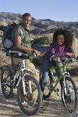 Couple With Mountain Bikes — Stock Photo