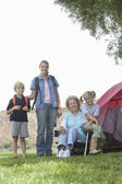 Kids With Mother And Grandmother On Camping Trip — Stock Photo