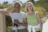Senior Women Stand With Walking Poles — Stock Photo