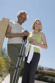 Senior Women Stand With Walking Poles — Stock Photo