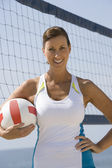 Woman Holding Volleyball At Beach — Stock Photo
