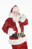 Santa Claus Using Cell Phone — Stock Photo